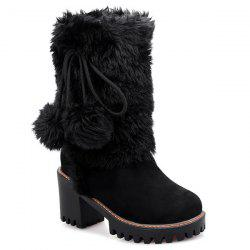 Fluffy Pompon Chunky Heel Mid Calf Boots