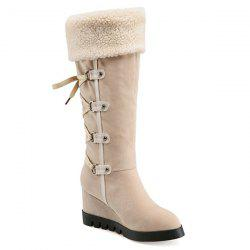 Wedge Heel Faux Shearling Mid Calf Boots