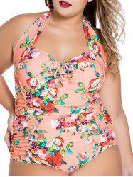 Print Padded Plus Size One Piece Swimwear