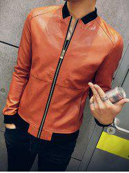 Zipper Up Stand Collar PU Leather Jacket -
