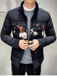 Zip Up Flower Printed Quilted Jacket -