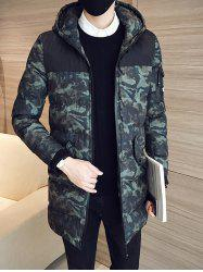 Quilted Zip Up Camouflage Hooded Coat -
