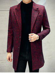 Lapel Single Breasted Tweed Heather Coat - WINE RED