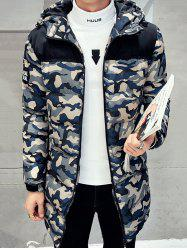 Quilted Zipper Up Camo Hooded Coat