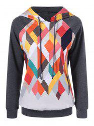 Drawstring Geometric Trim Hoodie - MOUSE GREY M