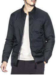 Stand Collar Pocket Snap Front Padded Jacket -