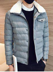 Removable Faux Fur Collar Zip Up Padded Jacket -