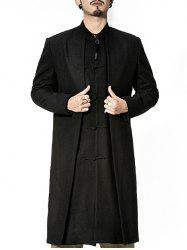 Stand Collar Frog Button Longline Layered Coat -