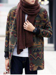 Geometric Print Stand Collar Snap Front Coat