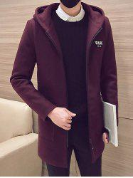 Patch Pocket Zip Up Hooded Coat - BURGUNDY 2XL