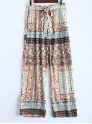 Ornate Floral Print Wide Leg Palazzo Pants