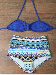 Crochet High Rise Halter Bikini Set