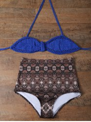 Knitted Printed High Rise Bikini -