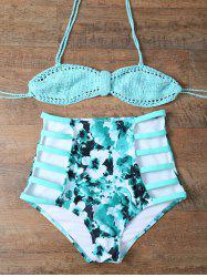 Floral Cutuout Crochet High Waisted Bikini Set