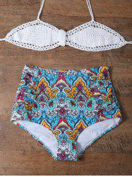 Printed High Waisted Crochet Multiway Bandeau Bikini