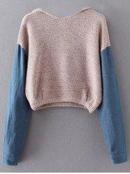 Hooded Denim Sleeve Sweater -