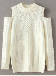 Mix Knit Cold Shoulder Sweater -