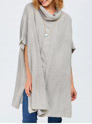 Chunky Cable Knit Batwing Sleeves Sweater - LIGHT GRAY