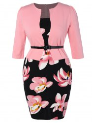 Floral Printed Belted Plus Size Peplum Dress With Sleeves - PINK