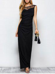 Lace Panel Ruched Long Formal Maxi Dress with Slit -