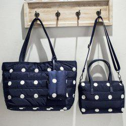 Stitching Polka Dot Magnetic Closure Shoulder Bag