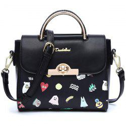 Metallic Hasp Cartoon Printed Handbag -