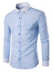 Contrast Collar Back Pleat Button Down Shirt - BLUE M