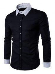 Contrast Collar Back Pleat Button Down Shirt - BLACK 2XL