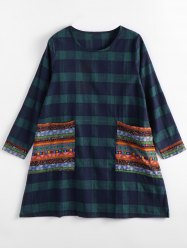 Long Sleeve Tartan Dress with Pockets