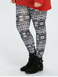 Plus Size Christmas Snowflake Printed Leggings - BLACK