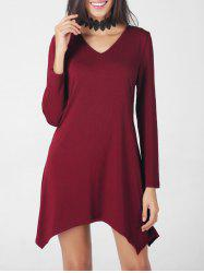 V Neck Asymmetric Handkerchief Long Sleeve T-Shirt Dress