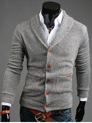Shawl Collar Patch Pocket Button Front Cardigan