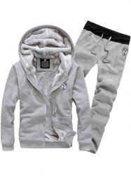 Applique Zip Up Flocking Hoodie and Pants Twinset - GRAY 3XL