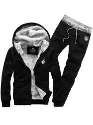 Applique Zip Up Flocking Hoodie and Pants Twinset