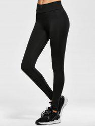 Elastic Waist Running Leggings - BLACK