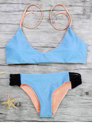 Halter Color Block Strappy Bikini Set
