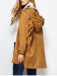 Hooded Zippered Loose Coat -