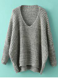 Oversized Batwing Sweater - GRAY ONE SIZE