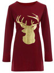 Christmas Reindeer Graphic Tee Dress - BURGUNDY M