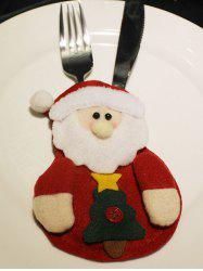 Christmas Party Table Decor Santa Claus Forks Tableware Cover Bag -