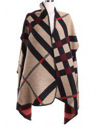 Vintage Geometry Pattern Cashmere Cape Pashmina - LIGHT CAMEL
