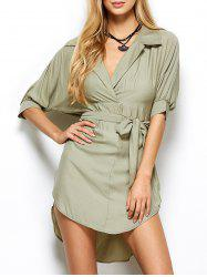 High Low Surplice Shirt Military Wrap Dress