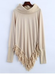 Turtleneck Tassel Asymmetric Sweater - APRICOT XL