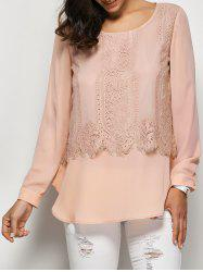 Lace Trim Curved Hem Blouse