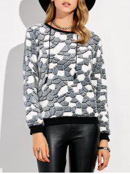 Fleece Stone Pattern Fuzzy Sweatshirt