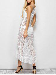 Sheer Ruffle Trim Lace Maxi Beach Dress
