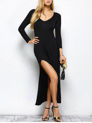 Plunge Neck High Slit Long Sleeve Bodycon Maxi Dress