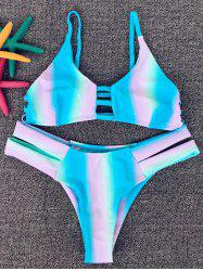 Stylish Spaghetti Strap Rainbow Print Women's Bikini Set