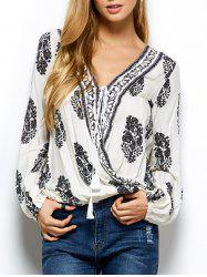 Retro Print Wrap V Neck Blouse - WHITE