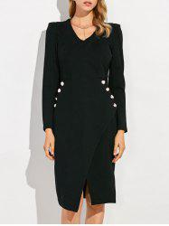 V Neck Long Sleeve Sheath Work Dress